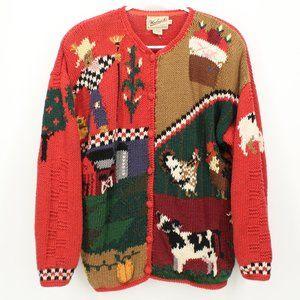 Woolrich Country Farm Scene Knit Cardigan Sweater